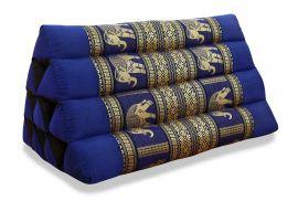 Thaikissen ohne Auflage, Seide   *blau / Elefanten*