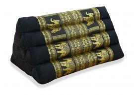 Thaikissen ohne Auflage, Seide   *schwarz / Elefanten*