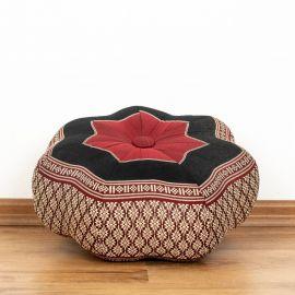 Zafu,  Meditationskissen, kleiner Stern  *rot / schwarz*
