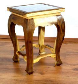 Asiatischer Tisch, extra hoch in *natur mit Elefantenschnitzerei*