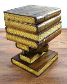 Büchersäule, Hocker  *goldfarbene Bücher*  (aufklappbar)