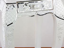 Hoher, Opiumtische mit Schublade *Glasmosaikverzierung* weiß
