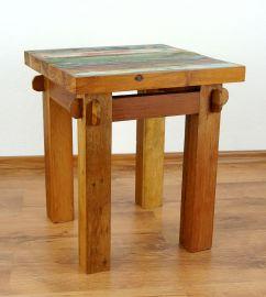 Java, Beistelltisch, Tisch aus buntem recycelten Teakholz/Bootsholz, Nr.63