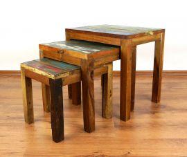 Java,Tische im 3er Set aus buntem, recyceltem Teakholz/Bootsholz, Nr.46