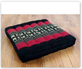 Kapok Stuhlauflage, Thaikissen  *schwarz / Elefanten*  (klein)
