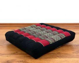 Kapok Stuhlauflage, Thaikissen  *schwarz / rot*  (klein)