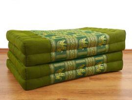 Klappmatratze, Seide  *grün / Elefanten*