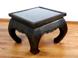Kleiner, asiatischer Opiumtisch mit *Elefantenschnitzerei* in schwarz