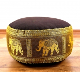 kleines Zafukissen, Meditationskissen  *dunkelbraun-gold / Elefanten*