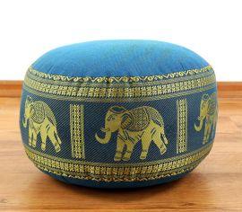 kleines Zafukissen, Meditationskissen  *hellblau / Elefanten*