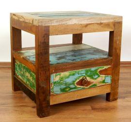 Nachttisch aus recyceltem, bunten Teakholz/Bootsholz, Java (Indonesien), Nr.316