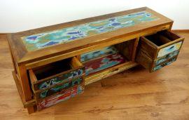 Sideboard/TV Schrank aus recyceltem, bunten Teakholz/Bootsholz, Java (Indonesien), Nr.353