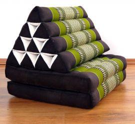 Thaikissen, Dreieckskissen, 2 Sitzauflagen  *braun - grün*