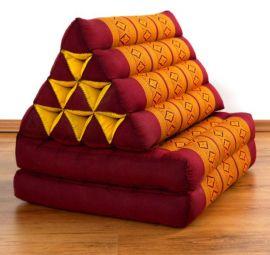 Thaikissen, Dreieckskissen, 2 Sitzauflagen  *rot - gelb*