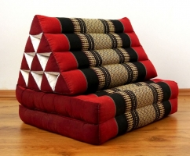 Thaikissen, Dreieckskissen, 2 Sitzauflagen  *rot - schwarz*