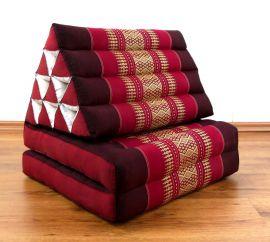 Thaikissen, Dreieckskissen, 2 Sitzauflagen  *rubinrot*