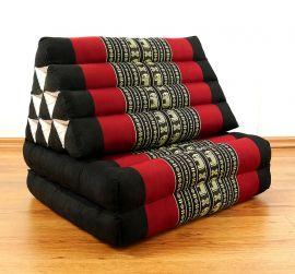 Thaikissen, Dreieckskissen, 2 Sitzauflagen  *schwarz - Elefanten*
