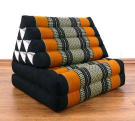 Thaikissen, Dreieckskissen, 2 Sitzauflagen  *schwarz - orange*