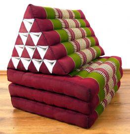 Thaikissen, Dreieckskissen  *rot / grün*  (XXL-Höhe)
