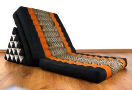 Thaikissen, Dreieckskissen  *schwarz / orange*  (XXL-Höhe)