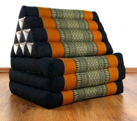 Thaikissen, Sitz- Liegekissen, Dreieckskissen  *schwarz - orange*