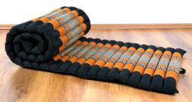 Thaimatte, Rollmatte, Liegematte  *schwarz / orange*  Gr.S