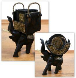 Untersetzer  *Elefant*  aus Holz und Rattan