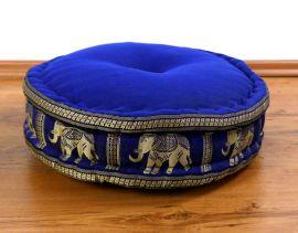 Zafukissen, Meditationskissen  *blau / Elefanten*