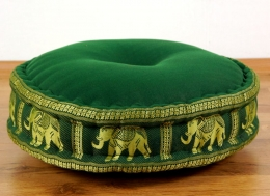 Zafukissen, Meditationskissen  *dunkelgrün / Elefanten*