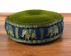 Zafukissen, Meditationskissen  *grün-blau / Elefanten*