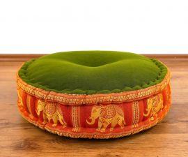 Zafukissen, Meditationskissen  *grün-orange / Elefanten*