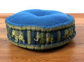 Zafukissen, Meditationskissen  *hellblau / Elefanten*