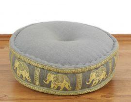 Zafukissen, Meditationskissen  *hellgrau / Elefanten*