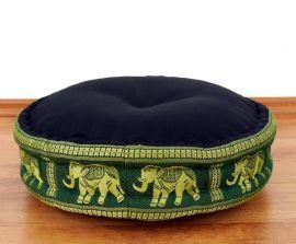 Zafukissen, Meditationskissen  *schwarz-grün/ Elefanten*